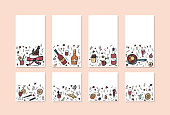 Vector set of mulled wine elements and objects.