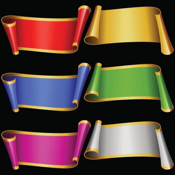 bildbanksillustrationer, clip art samt tecknat material och ikoner med vector uppsättning multicolor banner band - blue yellow band