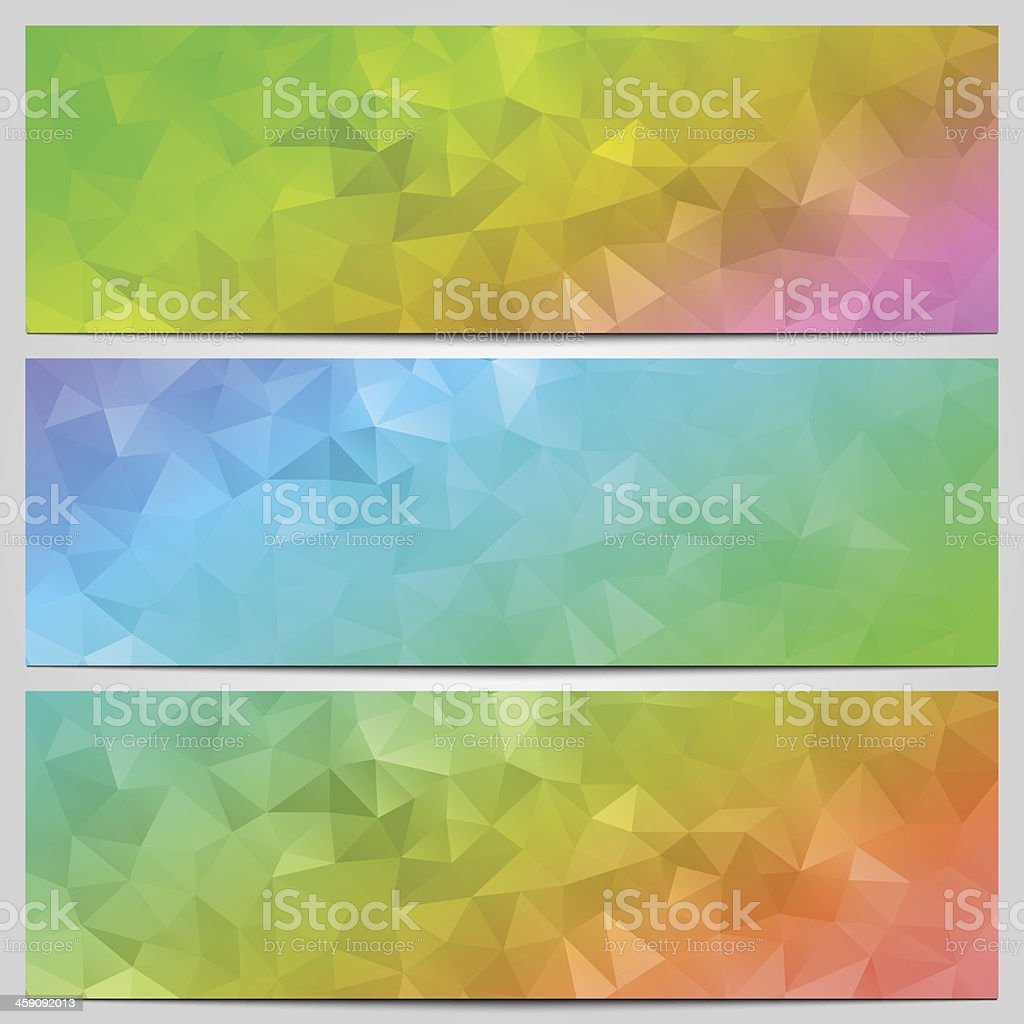 Vector set of multicolor banners with abstract geometry vector art illustration