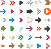 Vector set of multicolored arrow icons