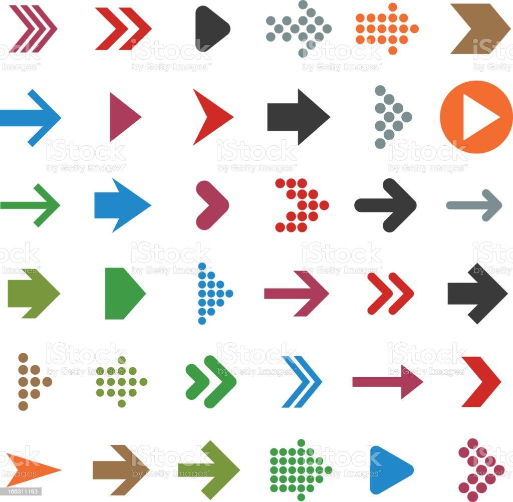 Vector set of multicolored arrow icons vector art illustration