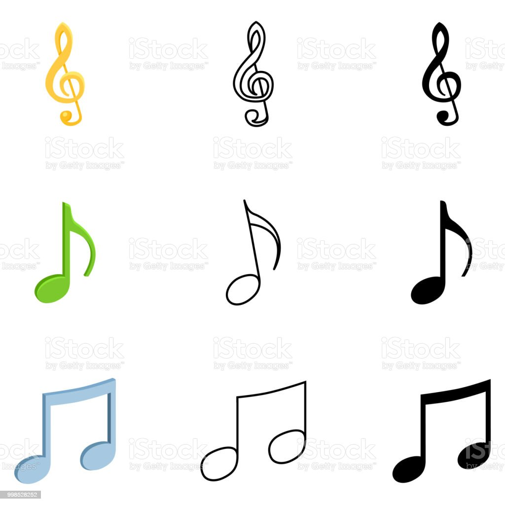 Vector Set Of Music Notes Symbols Stock Vector Art More Images Of