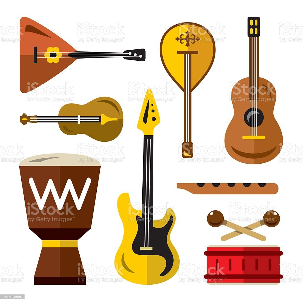 Vector Set of musical instruments. Flat style colorful Cartoon illustration. vector art illustration
