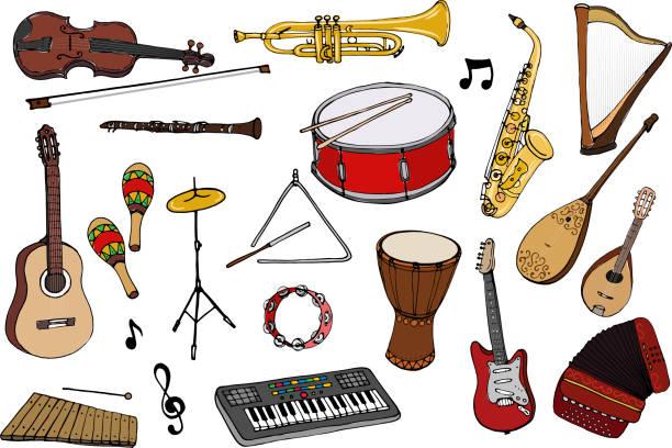 stockillustraties, clipart, cartoons en iconen met vectorset van muziekinstrumenten. - slaginstrument