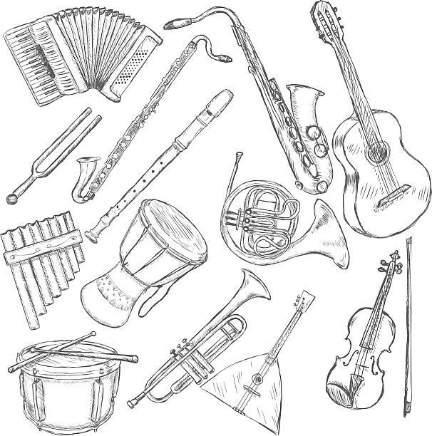 wektor zestaw instrumentów muzycznych - waltornista stock illustrations