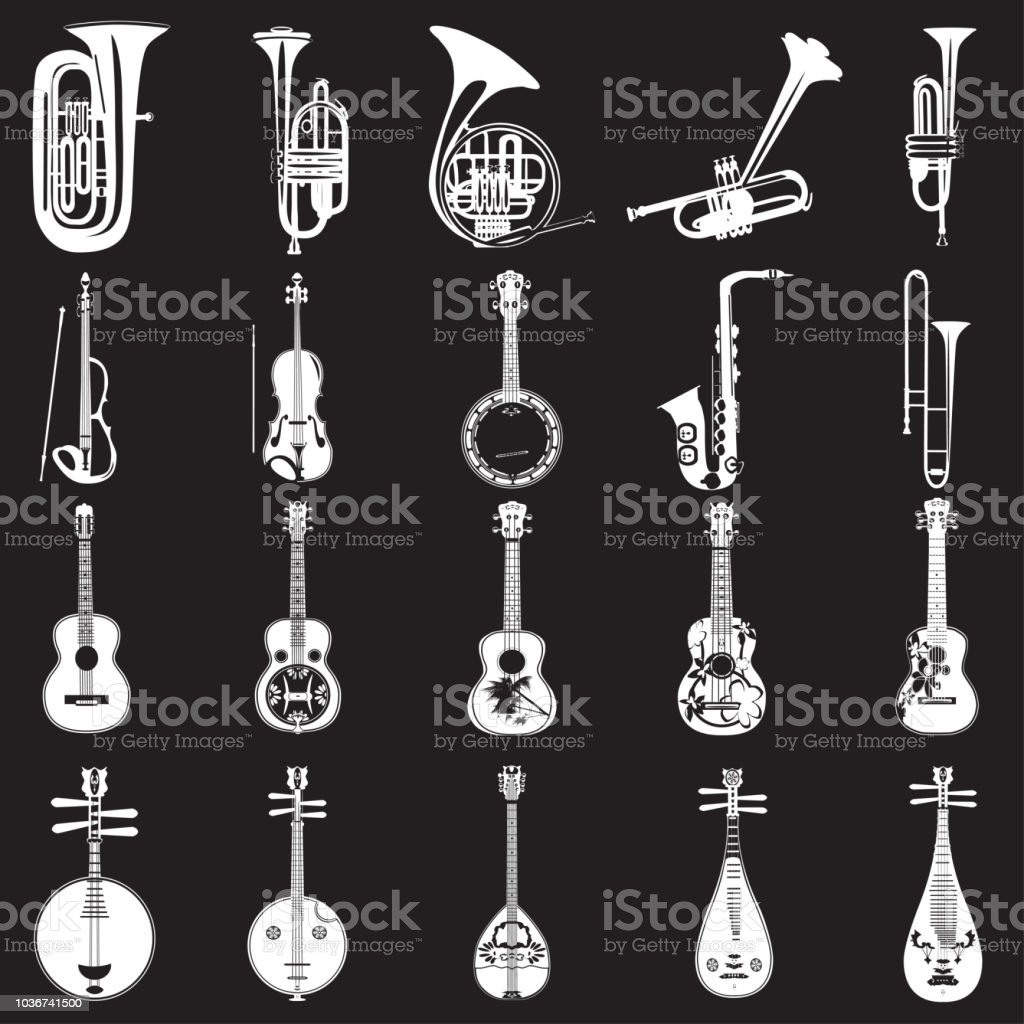 vector set of musical instruments white templates stock vector art