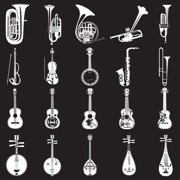 vector set of musical instruments white templates - waltornista stock illustrations
