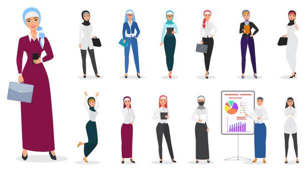向量集穆斯林阿拉伯商業女性的性格姿勢。 - emirati woman 幅插畫檔、美工圖案、卡通及圖標