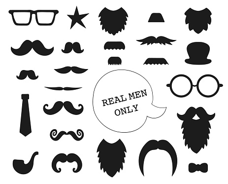 Vector set of mustache, beard, glasses, hat, tie, pipe, bow. Collection of elements for Father's Day. Male theme clip art. Photo booth props for holiday or party