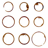 Vector set of natural coffee stains.