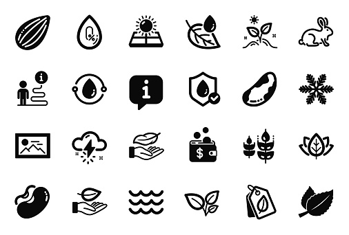 Vector Set of Nature icons related to Animal tested, Grow plant and Thunderstorm weather. Vector