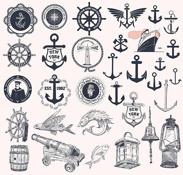 ilustraciones, imágenes clip art, dibujos animados e iconos de stock de vector.  conjunto de elementos de náutica - tatuajes náuticos
