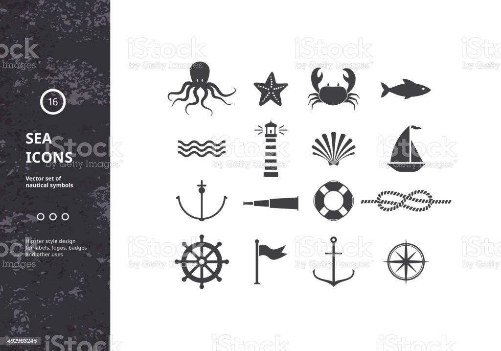 Vector conjunto de iconos de náutica. - ilustración de arte vectorial