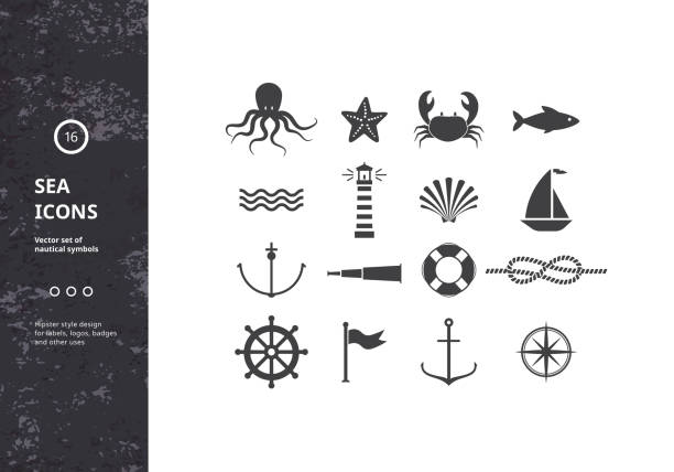 bildbanksillustrationer, clip art samt tecknat material och ikoner med vector set of nautical icons. - segelbåt
