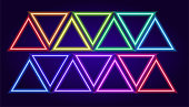 Graphic co Dark neon background. Vector template collection. Colorful geometric background. Vector set Vintage 3d pattern with set neon triangles multicolored on red background for web backdrop design.