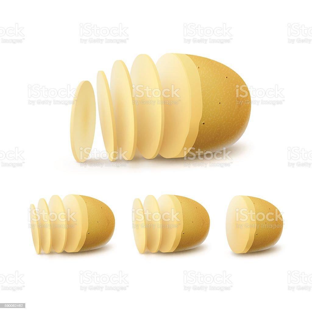 Vector Set of New Yellow Raw Sliced Potatoes vector art illustration