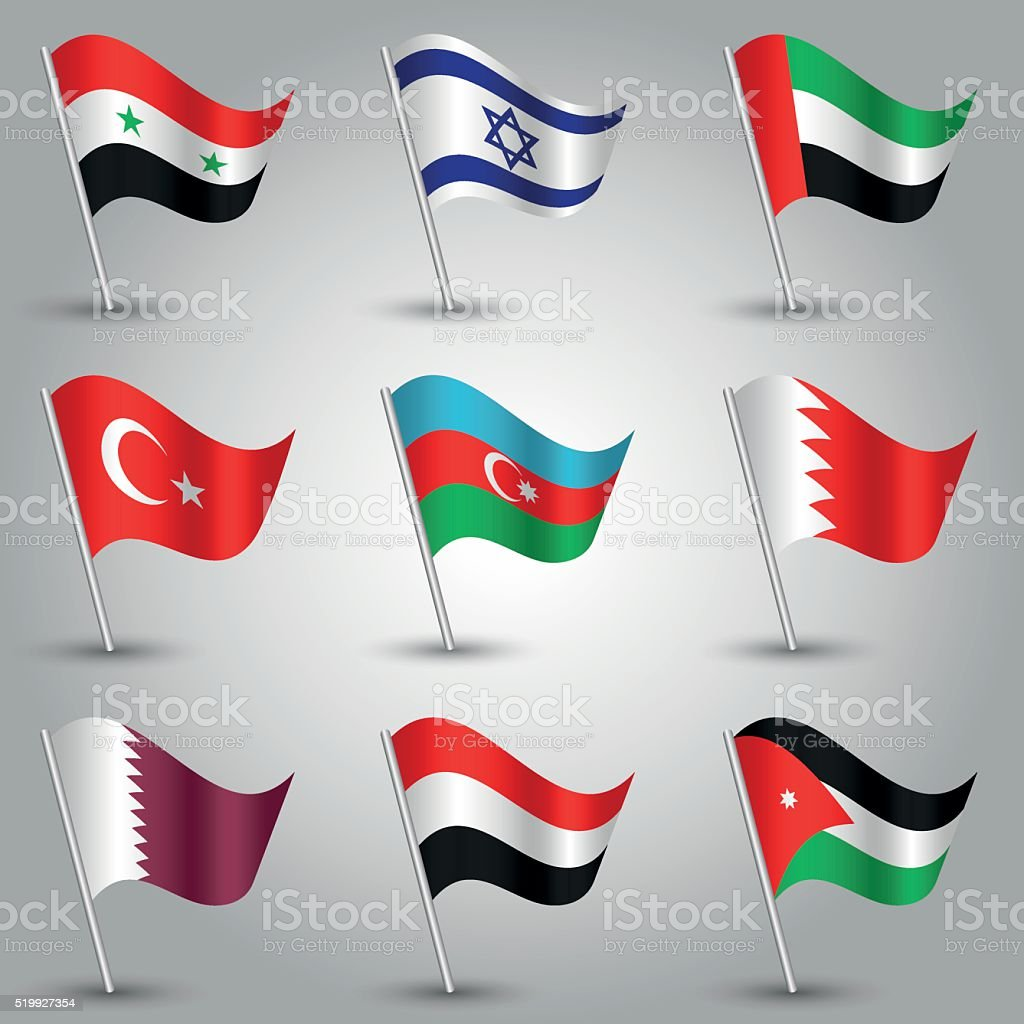 vector set of nine flags states of western asia vector art illustration