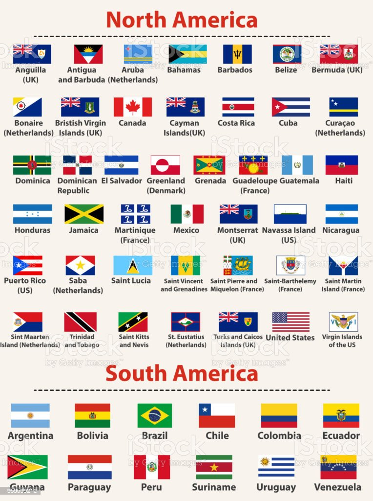 vector set of North and South America flags arranged in alphabetical order vector art illustration