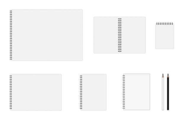 Vector set of notebook mockup Vector set of notebook mockup (formats: A3, A4, A5, A6), hardcover notebook, pencils. EPS 10 bonding stock illustrations