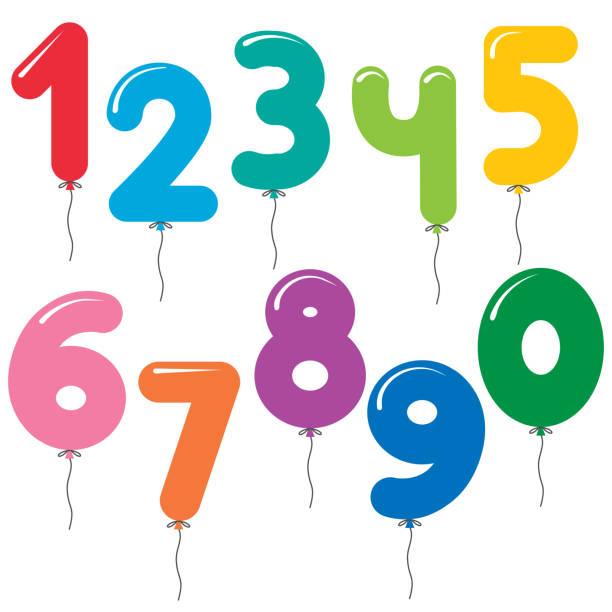 vektor-set nummer geformte bunte luftballons - 2 3 jahre stock-grafiken, -clipart, -cartoons und -symbole