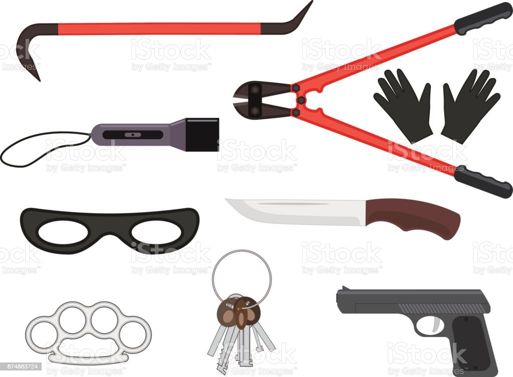 Vector set of objects elements of a thief tools vector art illustration