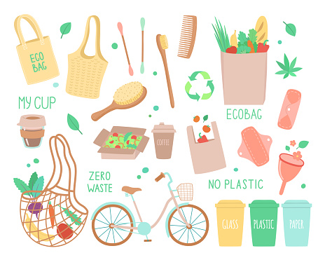 Vector set of objects on the topic of ecology, zero waste durable and reusable items or products - eco bags, craft packaging, natural hygiene products. Hand drawn vector illustration