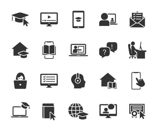 illustrations, cliparts, dessins animés et icônes de ensemble vectoriel d'icônes plates d'éducation en ligne. contient des icônes d'apprentissage à distance, leçon vidéo, cours en ligne, devoirs, test en ligne, webinaire, cours audio et plus encore. pixel parfait. - formation