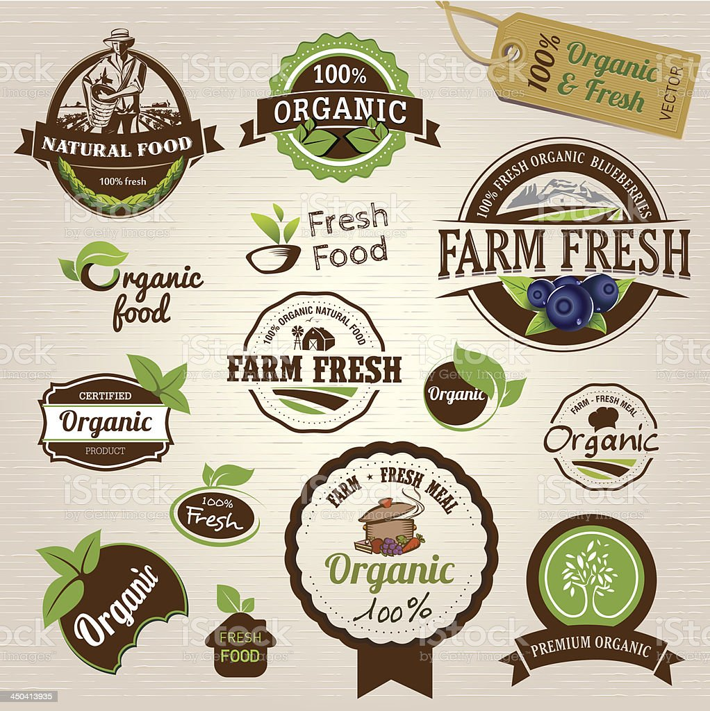 Vector set of organic labels and elements vector art illustration