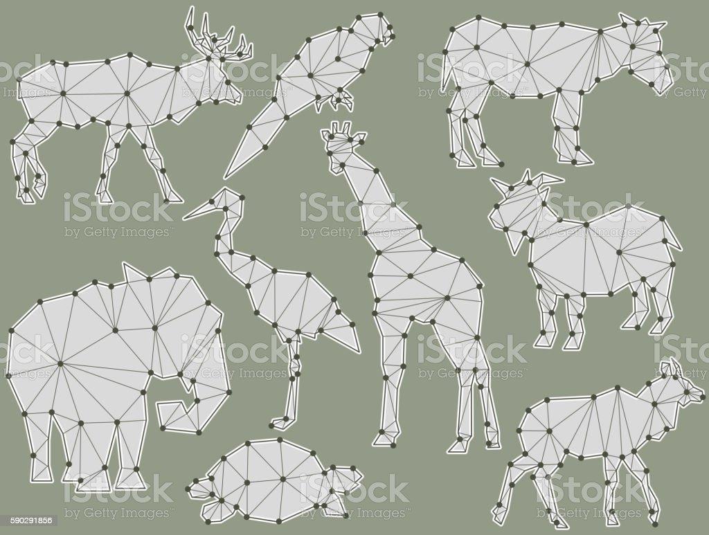 vector set of origami animal silhouettes royaltyfri vector set of origami animal silhouettes-vektorgrafik och fler bilder på antilop