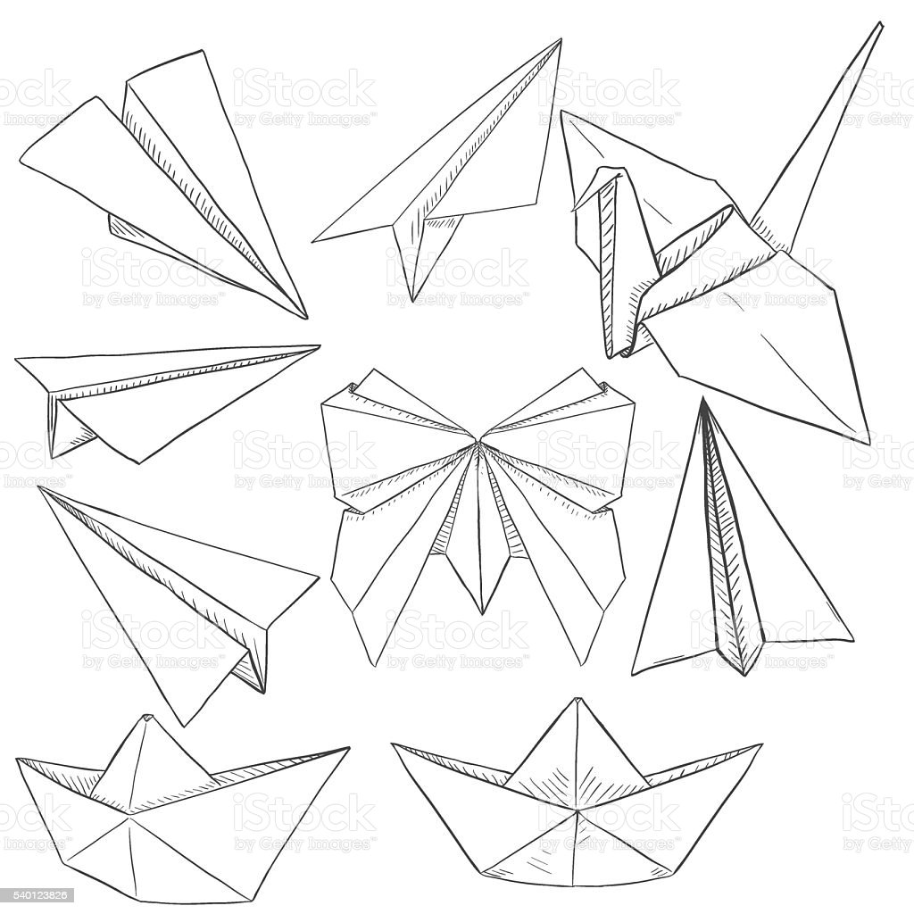 Vector set of origami objects stock vector art 540123826 istock vector set of origami objects royalty free stock vector art jeuxipadfo Choice Image