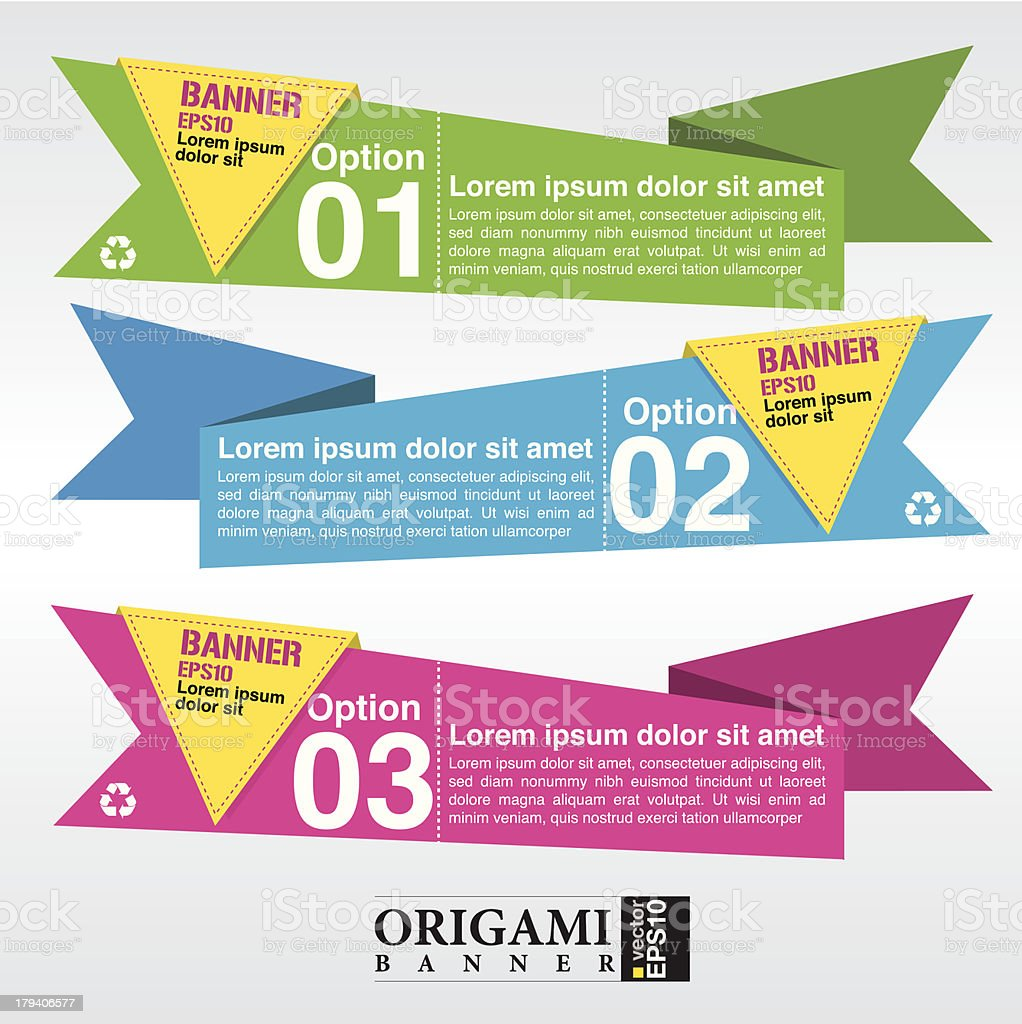 Vector set of origami paper banners. royalty-free stock vector art