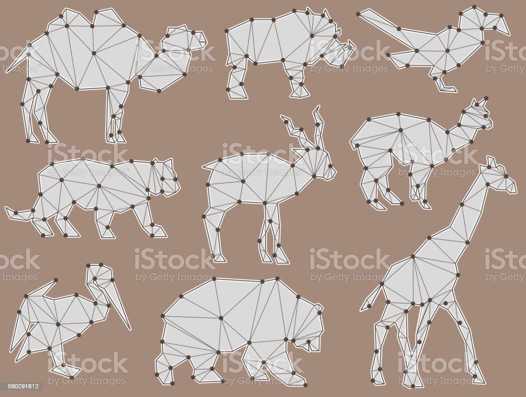 vector set of origami wild animal silhouettes royaltyfri vector set of origami wild animal silhouettes-vektorgrafik och fler bilder på alpacka