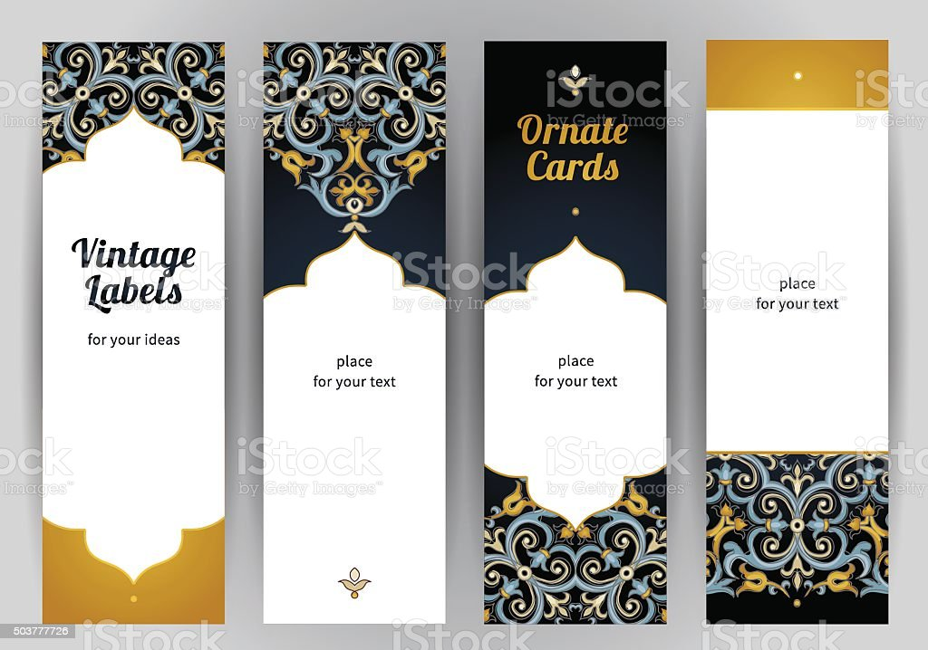 Vector set of ornate cards in Eastern style. vector art illustration