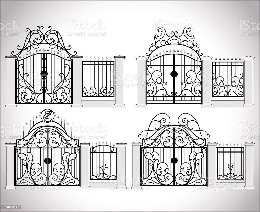Vector set of ornate fences on white vector art illustration