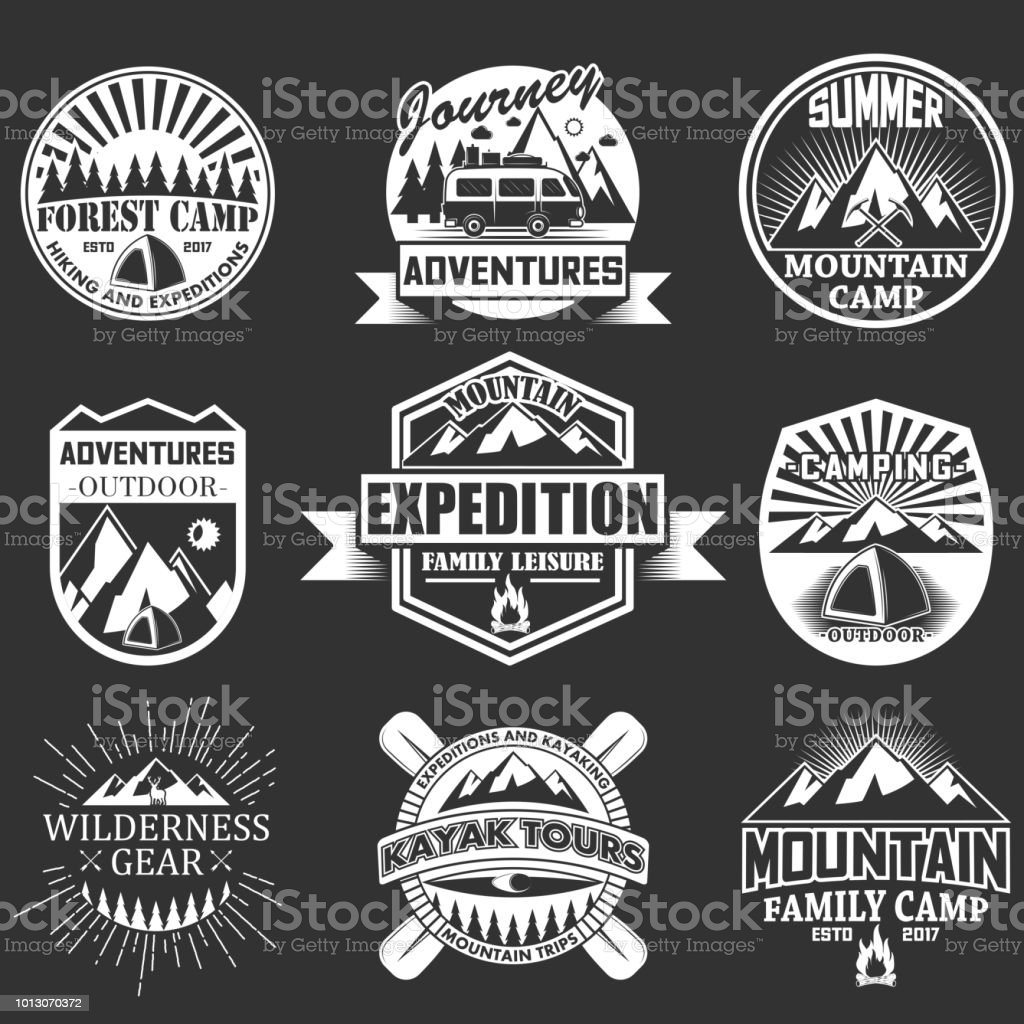Vector Set Of Outdoor Adventure Labels Emblems Stock Vector Art