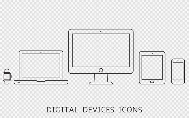 Vektorsatz von Gliederungsgerätesymbolen. Monitor, Laptop, Tablet-PC und Smartphone isoliert auf transparentem Hintergrund – Vektorgrafik