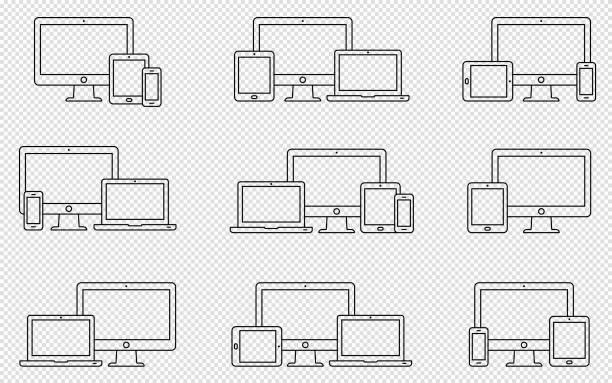 Vektor Satz Umriss Gerätesymbole. Monitor, Laptop, TabletPC und smartphone – Vektorgrafik