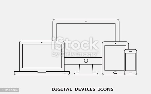 Vector set of outline device icons. Monitor, laptop, tablet pc and smartphone. Vector illustration