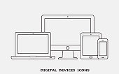 Vector set of outline device icons. Monitor, laptop, tablet pc and smartphone