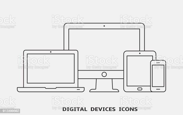 Vector set of outline device icons monitor laptop tablet pc and vector id912399562?b=1&k=6&m=912399562&s=612x612&h=kigu4d4pblhbpagu92knoxdtgodzaud tfdb9uxjq0w=