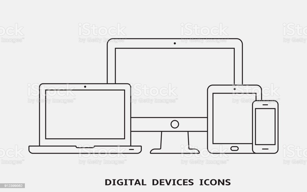 Vector set of outline device icons. Monitor, laptop, tablet pc and smartphone vector art illustration