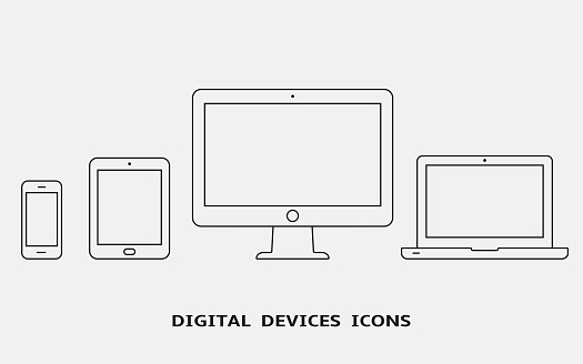 Vector set of outline device icons. Monitor, laptop, tablet pc and smartphone clipart