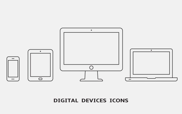 Vector set of outline device icons. Monitor, laptop, tablet pc and smartphone Vector set of outline device icons. Monitor, laptop, tablet pc and smartphone. Vector illustration desktop pc stock illustrations