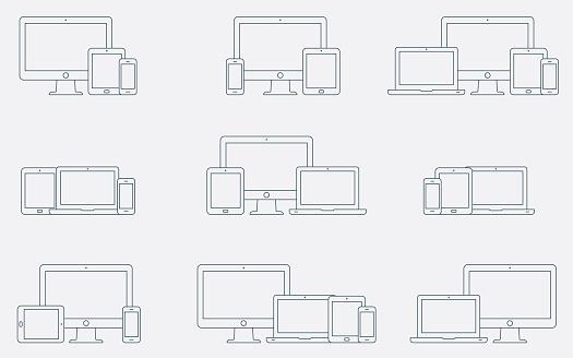 Vektor Satz Umriss Gerätesymbole Ansprechende Digitale Geräte Symbole Stock Vektor Art und mehr Bilder von Auslage