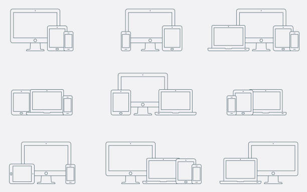 Vector set of outline device icons. Responsive digital devices icons. Vector set of outline device icons. Monitor, laptop, tablet pc and smartphone. Vector illustration desktop pc stock illustrations