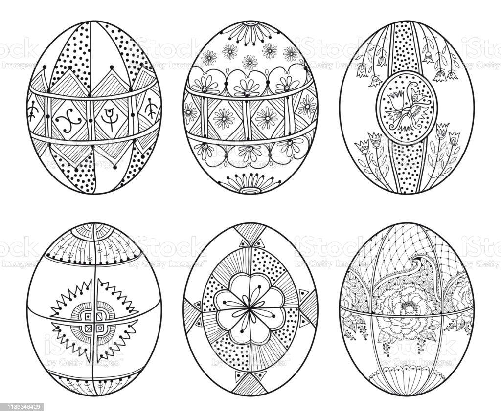 Vector Set Of Outline Ethnic Ukrainian Easter Egg Pysanka ...
