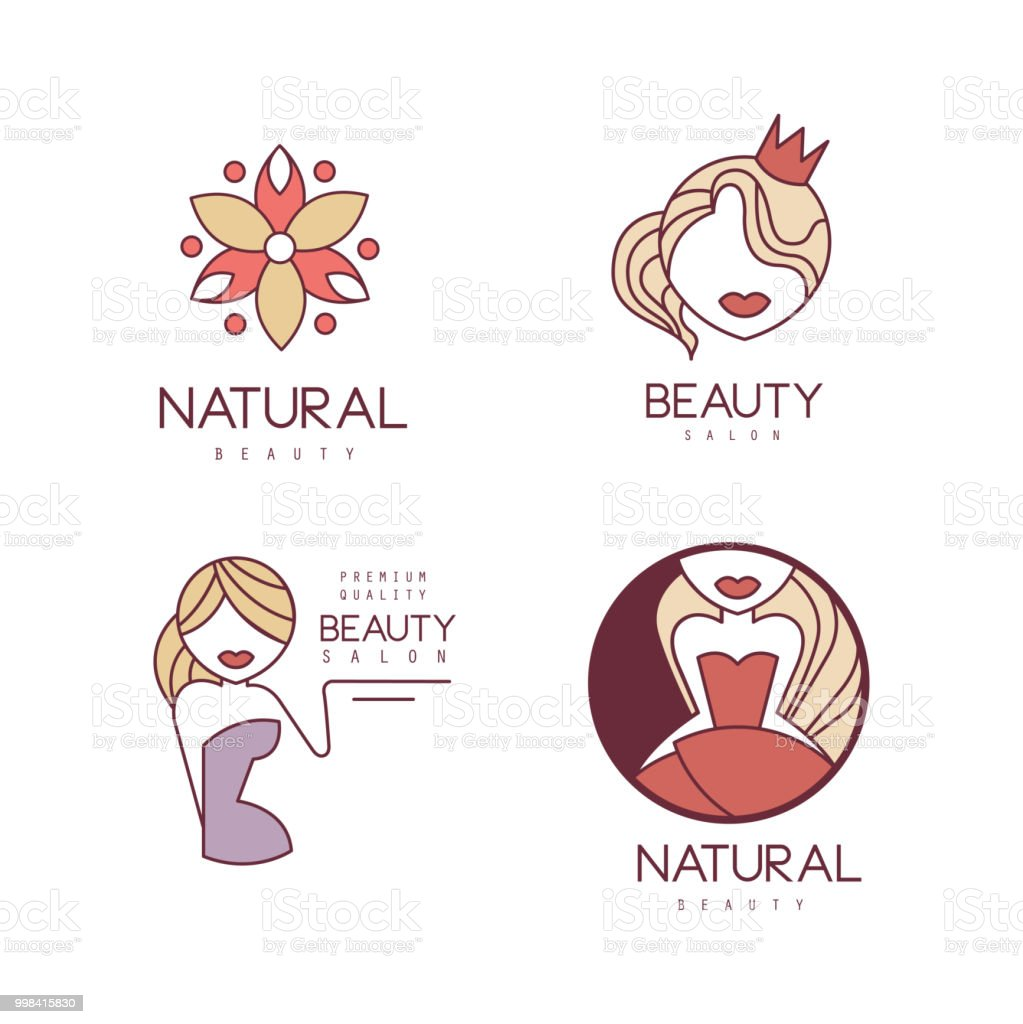 Vector Set Of Outline Symbols For Beauty Salon Or Women Club
