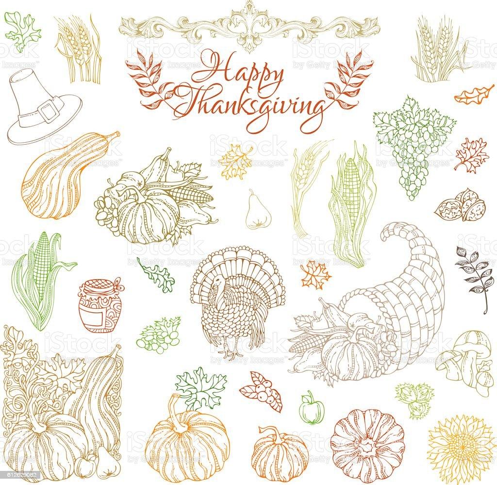 Vector set of outlined Thanksgiving design elements. vector art illustration