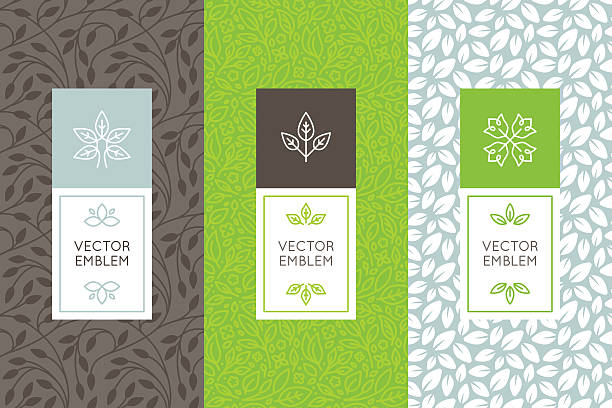 Vector set of packaging design templates Vector set of packaging design templates, seamless patterns and frames with copy space for text for cosmetics, beauty products, organic and healthy food with green leaves and flowers - modern style ornaments and backgrounds organic stock illustrations