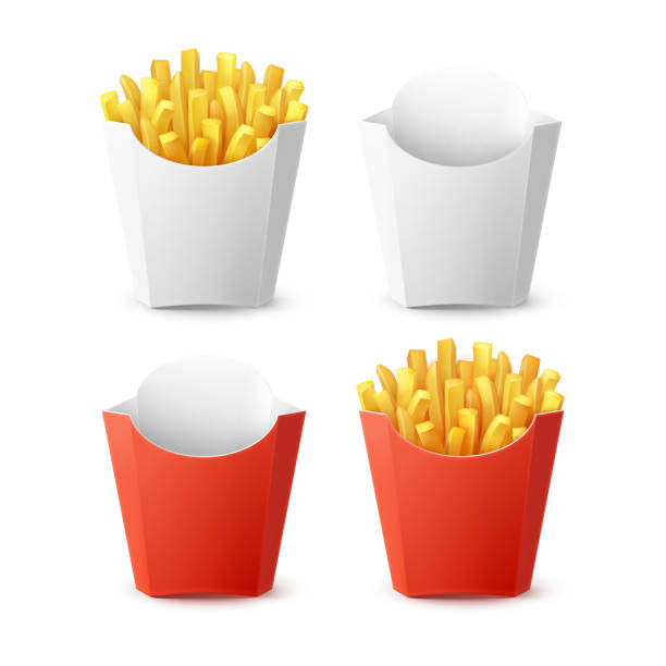 Vector Set of Packed Potatoes French Fries Vector Set of Packed Potatoes French Fries with Red White Blank Empty Carton Package Box Isolated on Background. Fast Food french fries stock illustrations